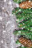 Christmas background on the old board with snowflakes Royalty Free Stock Photos