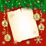 Christmas background with old paper and golden ornament Royalty Free Stock Photos