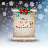 Christmas background with old scroll. Christmas background with snowflakes, old scroll paper, fur branches, red bow and glass balls. vector illustration Royalty Free Stock Photo