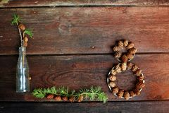 Christmas background on old wooden boards with decorative element in the shape of a figure eight, antique bottle and cones of larc Stock Images