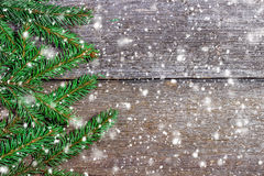 Christmas background on old wooden boards Royalty Free Stock Image