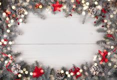 Free Christmas Background On The White Wooden Desk. Top Viev With Copy Space Stock Photo - 133271810
