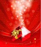Christmas background with open gift box Stock Photography