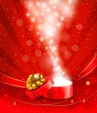 Christmas background with open gift box Stock Image