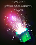 Christmas background with open green box Royalty Free Stock Photo