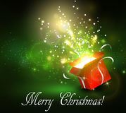 Christmas background with open red box Stock Image