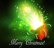 Christmas background with open red box Royalty Free Stock Images