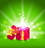 Christmas background with open round gift box Royalty Free Stock Image