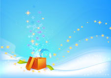 Christmas background with orange gift Royalty Free Stock Photo