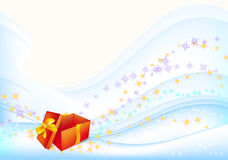 Christmas background with orange gift Royalty Free Stock Photos