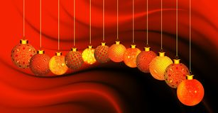 Christmas background with orange and gold ornament on orange and black wavy background. stock photo