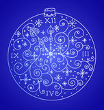 Christmas background with ornamental clock Royalty Free Stock Photos