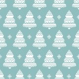 Christmas background with ornamental trees. Holiday monochrome seamless pattern. Vector illustration EPS 10 Royalty Free Stock Photo