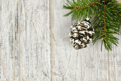 Christmas background with ornaments on branch Stock Photos