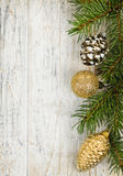 Christmas background with ornaments on branch Stock Photo