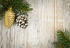 Christmas background with ornaments on branch Royalty Free Stock Image