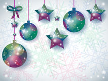 Christmas background with ornaments and space for text Stock Photos
