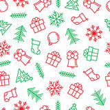 Christmas background with outline elements in green and red colors. Winter vector seamless background Stock Photo
