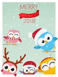 Christmas background with owl Royalty Free Stock Photography