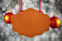 Christmas background - paper card, baubles and snowflakes stock image