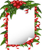Christmas background: paper decorated with holly stock photo