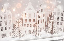 Christmas background of paper decorations. Xmas and Happy New Year composition royalty free stock photography
