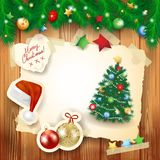 Christmas background with paper elements and fir Royalty Free Stock Photos
