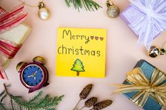 Christmas background and paper note merry christmas decor on ba. Ckground royalty free stock photography