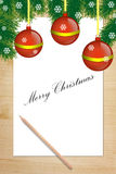 Christmas Background with Paper and Pencil Stock Image