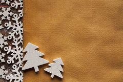 Christmas background - paper sheet, tree and snowflakes Royalty Free Stock Photo