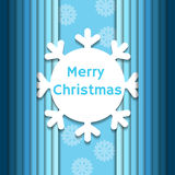 Christmas background with paper snowflake. On blue background Royalty Free Stock Image