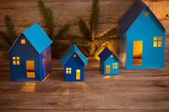 Christmas background with paper toys. Christmas background with blue paper toys royalty free stock image