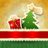 Christmas background with paper tree Stock Images