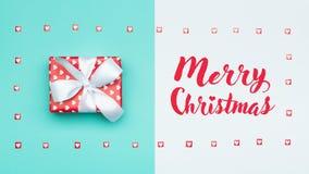 Christmas background. Pastel blue festive winter holidays backdrop. Beautifully wrapped christmas present. Xmas card. stock images