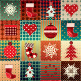 Christmas background in patchwork style. Royalty Free Stock Images