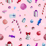 Christmas background pattern with candy canes and lollipops Royalty Free Stock Photos