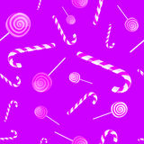 Christmas background pattern with candy canes and lollipops Royalty Free Stock Photography