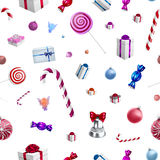 Christmas background pattern with candy canes and lollipops Stock Image