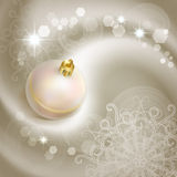 Christmas background. With pearl Christmas tree ball Stock Photos