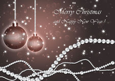 Christmas background with pearls. Christmas background with pearls and balls Royalty Free Stock Photography