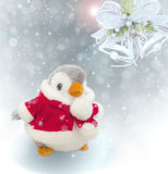Christmas background. Christmas background with penguin and bell Stock Photo