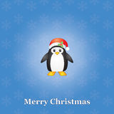 Christmas background with penguin Stock Image