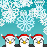 Christmas background with penguins Stock Images