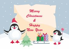 Christmas background with penguins. Christmas greeting card with the image of cute penguins. Children`s vector background Stock Images