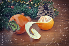 Christmas background, persimmon and tangerine Royalty Free Stock Images