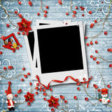 Christmas  background with photo frame and beautiful decor Royalty Free Stock Image