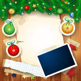 Christmas background with photo frame Royalty Free Stock Image