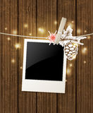 Christmas  background with photo and pine branch Royalty Free Stock Photo