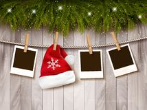 Christmas background with photos and a santa hat. Vector Royalty Free Stock Photo