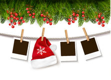 Christmas background with photos and a Santa hat. Stock Photo
